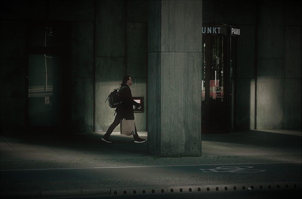Berlin Potsdmer Platz, man walking in Berlin