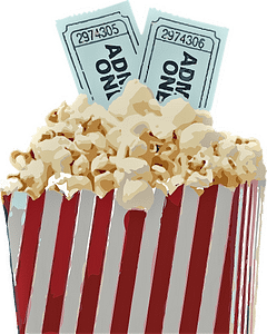 Cinema tickets with popcorn and stripe box