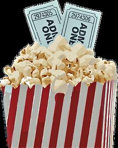 Cinema tickets with popcorn and stripe box