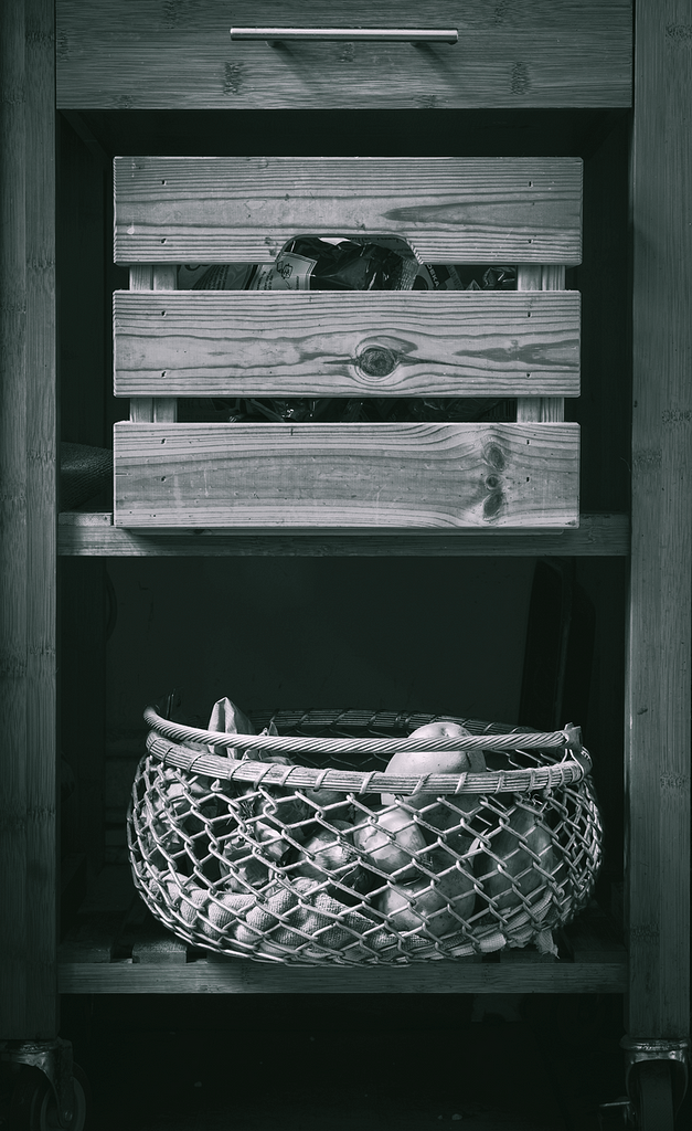 Wooden Trolley and Crate for Vegetables - Kitchen II . Copyright; Sean P. Durham, Berlin 2020