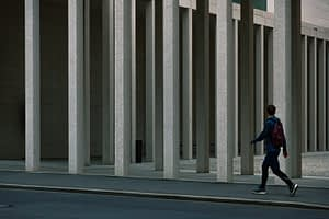 Simon Gallery in Berlin Pillars and man walking along the street, by Sean p. Durham, Berlin 2020