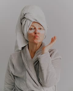 Woman with shower towel on head