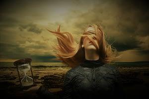 Woman in a strange landscape