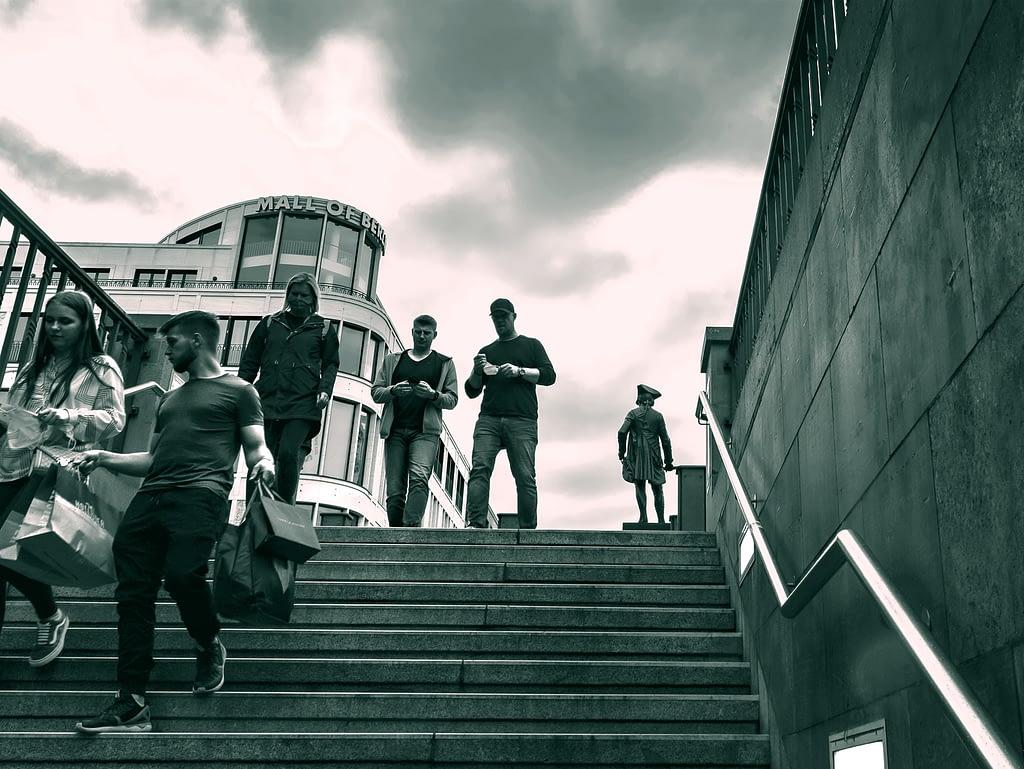 People walking down steps in Berlin Mitte 2020, Copyright; Sean P. Durham, Berlin 2020
