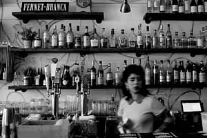 Bar woman in a bar cafe mehringdamm
